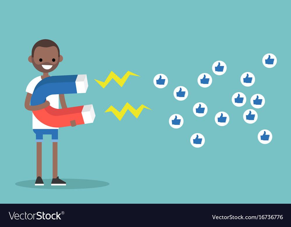 Social media marketing concept young black man Vector Image