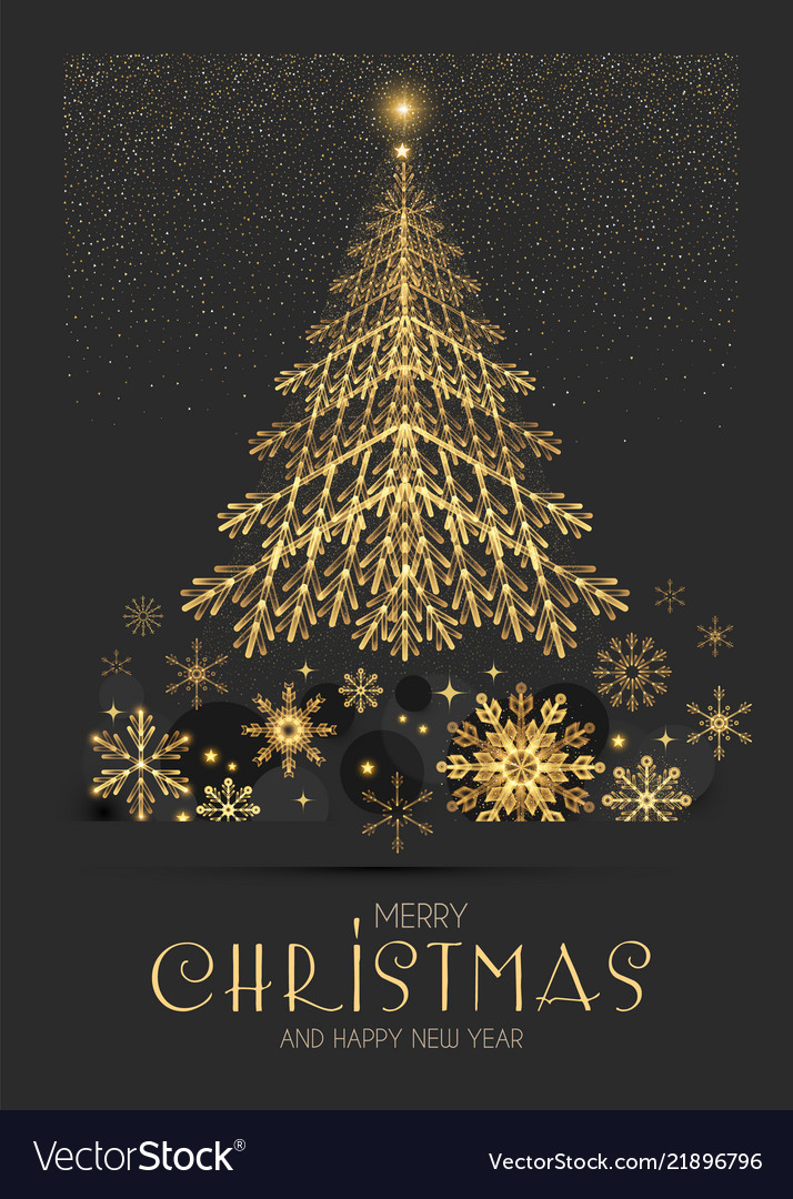 Elegant christmas card template with gold fir tree