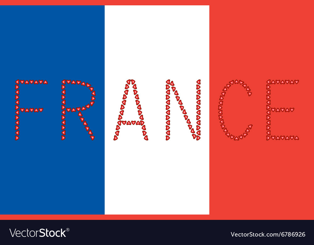 French flag and word France from hearts Royalty Free Vector