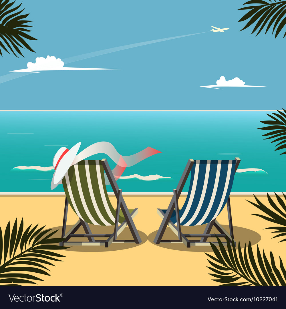 Deck Chairs On Beach Royalty Free Vector Image