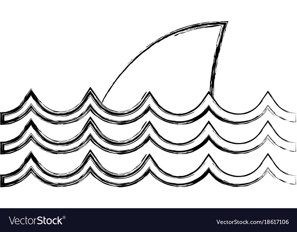 Figure nature ocean waves with shark animal Vector Image
