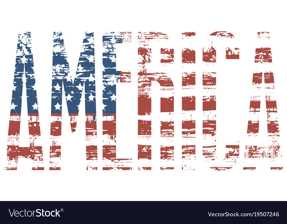 Graphic image of the word america with usa flag Vector Image - word flag