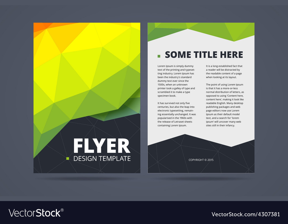Two sided flyer brochure design template Vector Image - double sided brochure templates