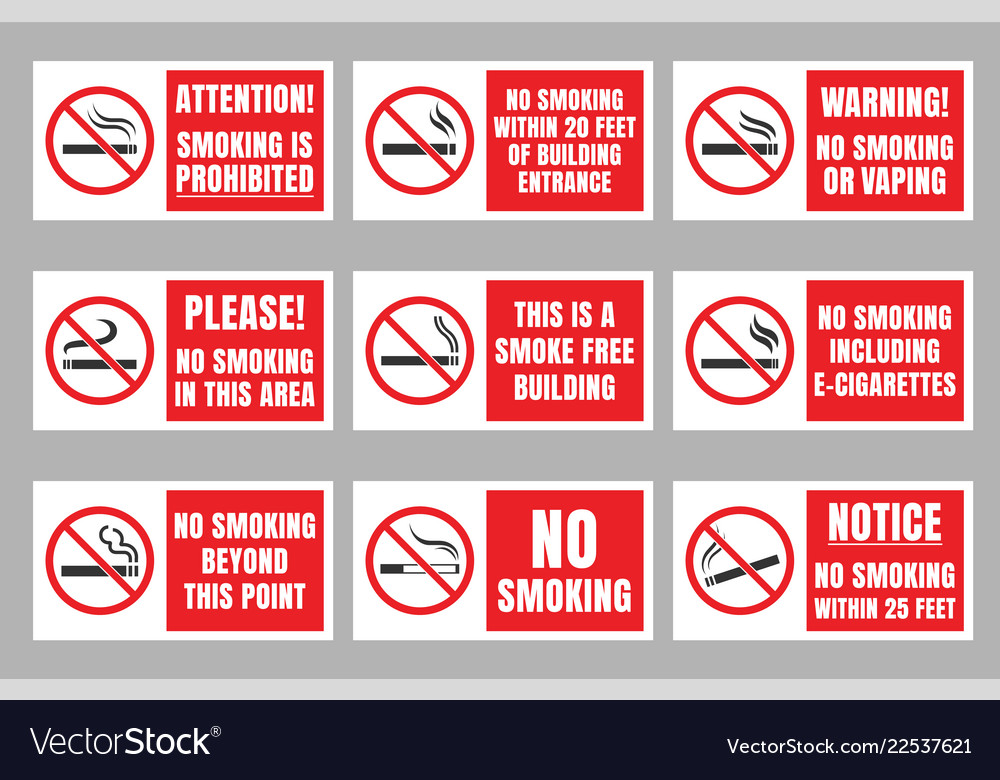 No smoking sign set smoking is prohibited Vector Image
