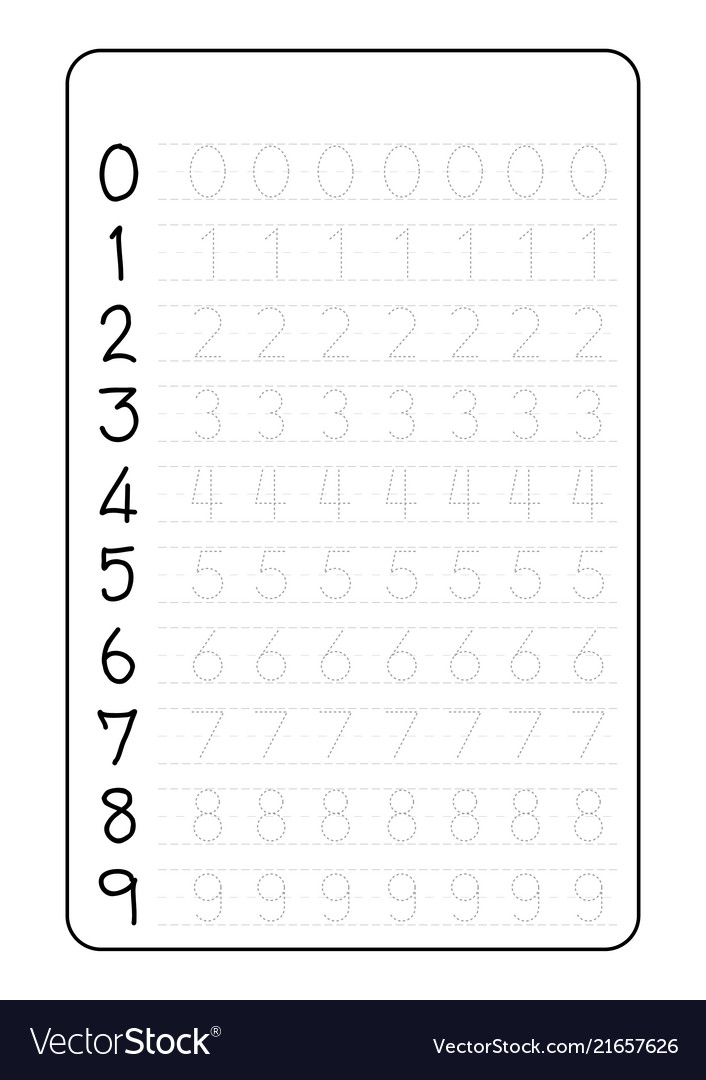 Practice writing numbers on a4 worksheet Vector Image