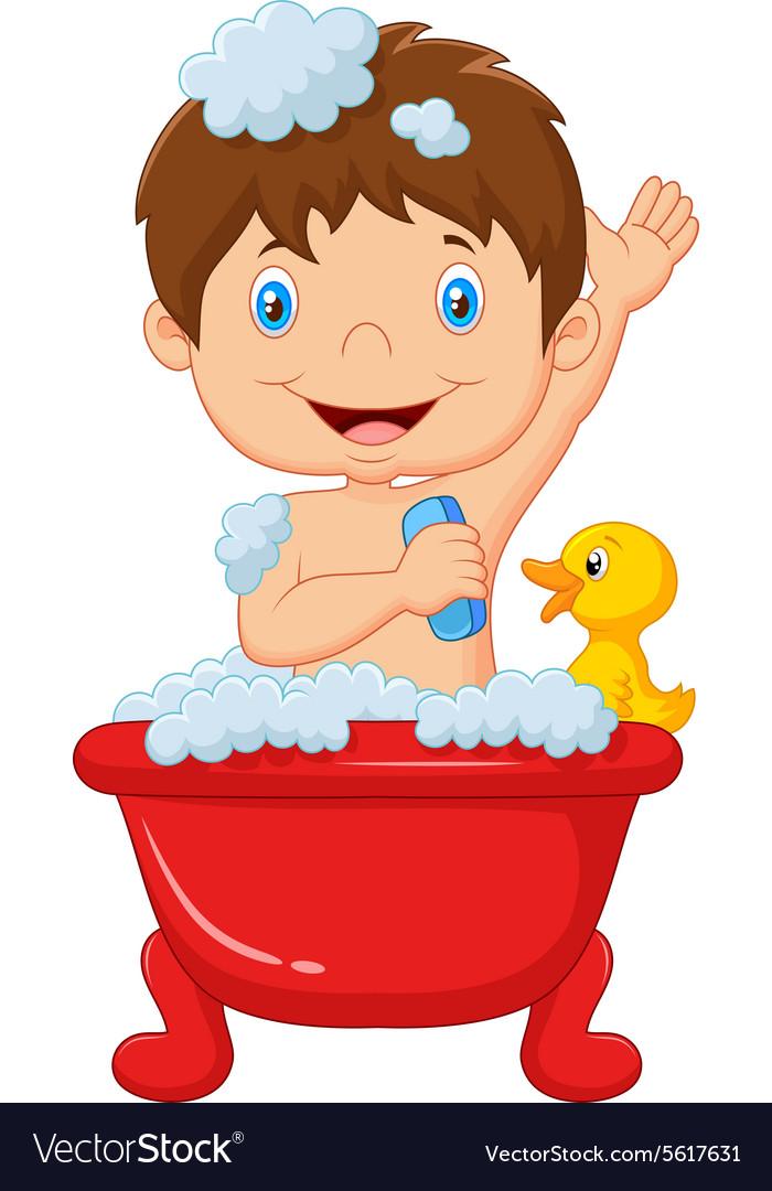 Cartoon child taking a bath Royalty Free Vector Image