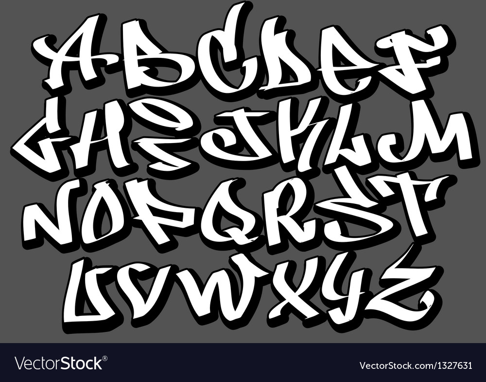 Graffiti font alphabet abc letters Royalty Free Vector Image