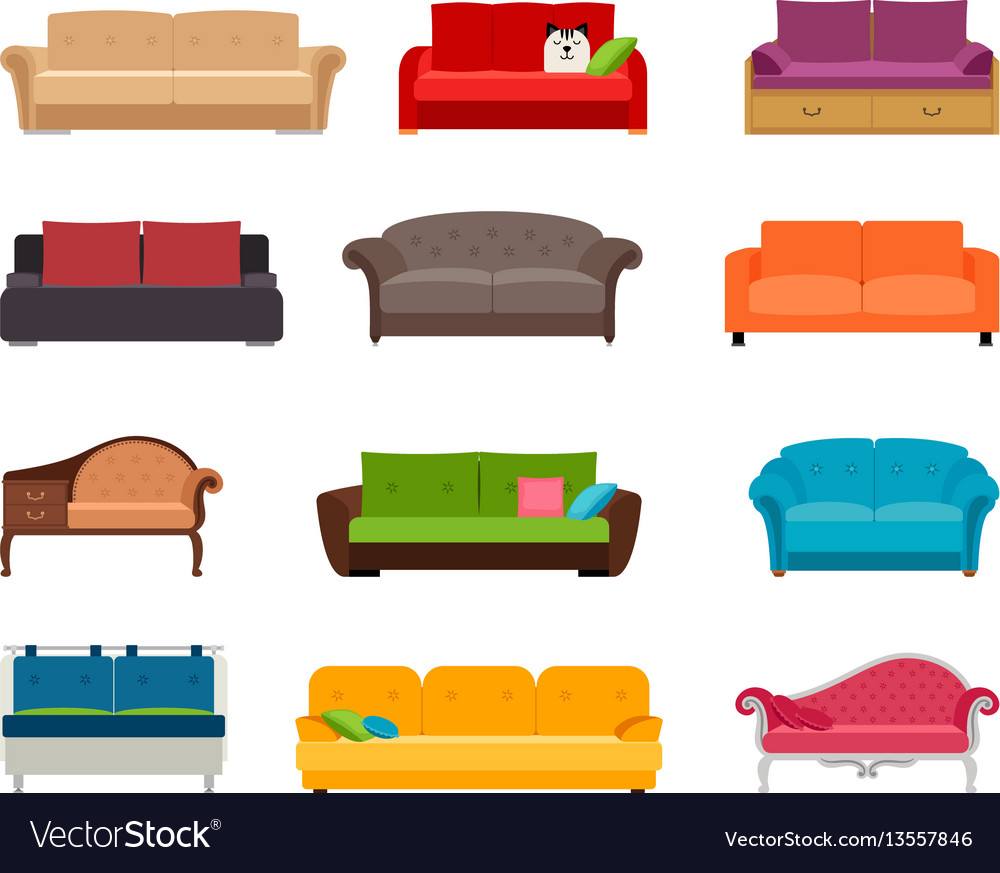 Sofa Set Vector Free Download Sofa Colored Set Comfortable Couch