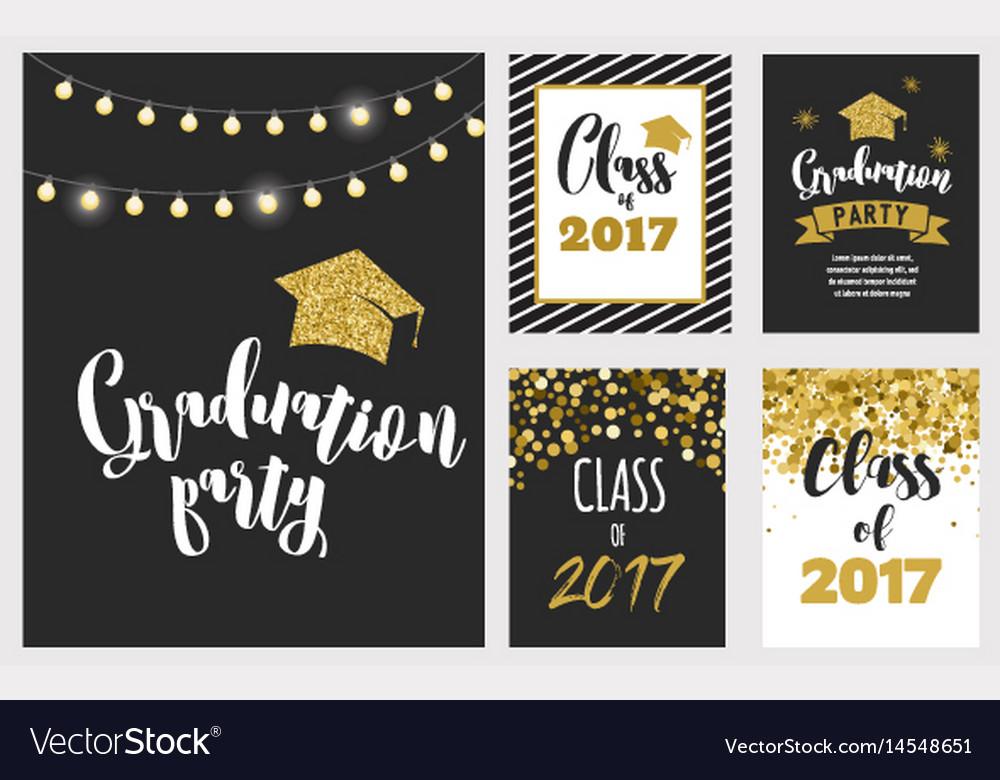 Graduation class of 2017 party invitations Vector Image - invitations graduation