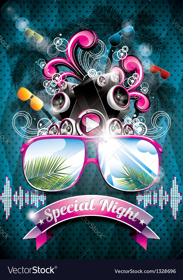 Summer Beach Party Flyer Design with speakers Vector Image - party flyer