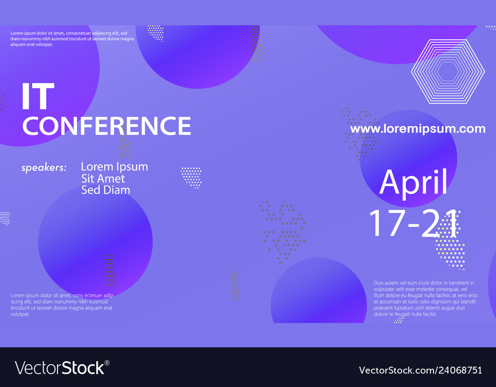 Conference announcement design template Royalty Free Vector