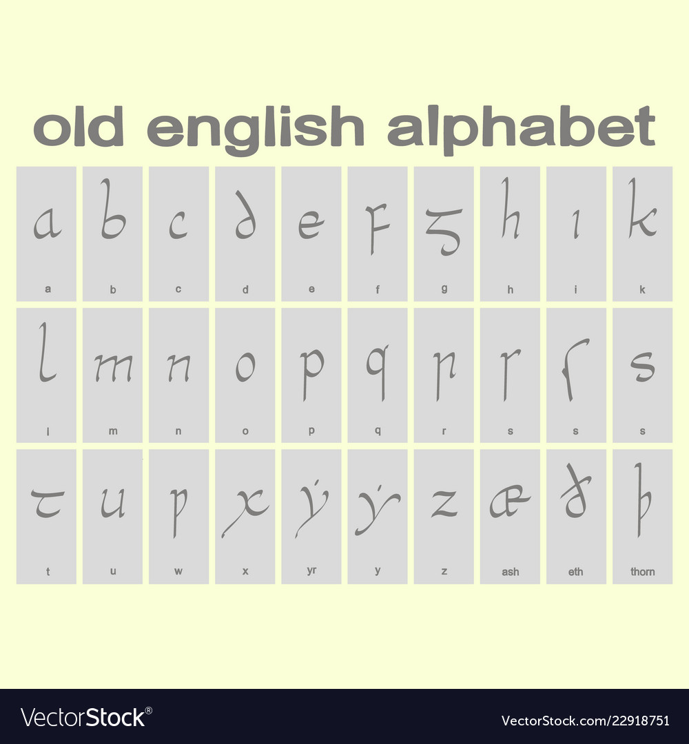Are Old English Set Of Monochrome Icons With Old English Alphabet