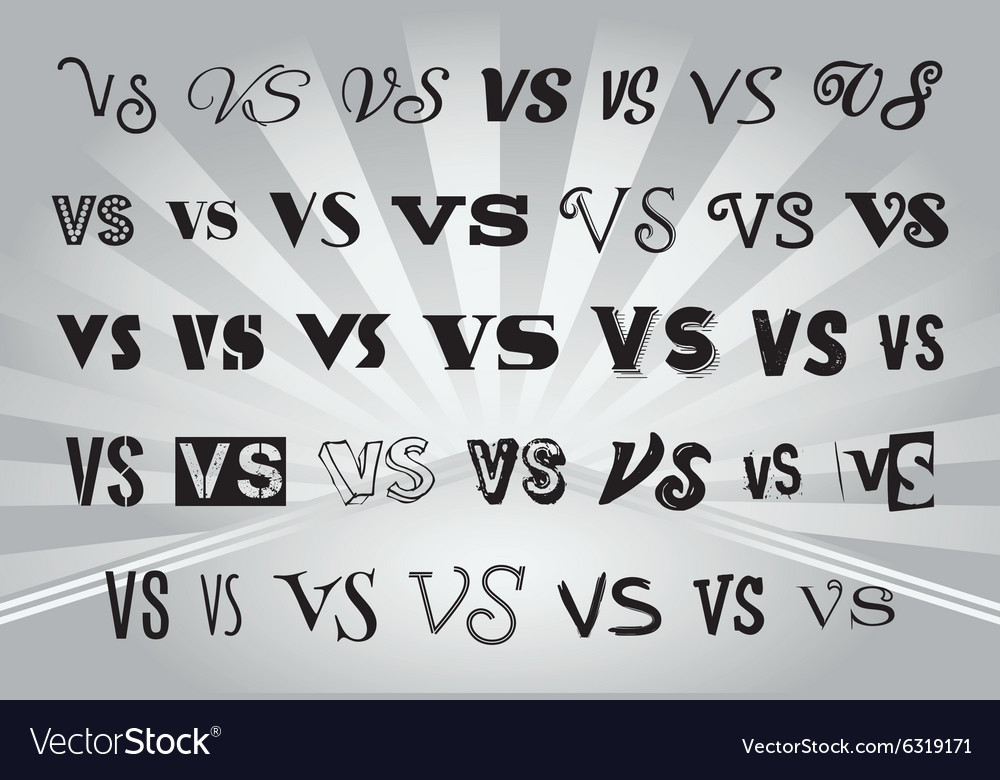 Letters V and S with a different style of writing Vector Image