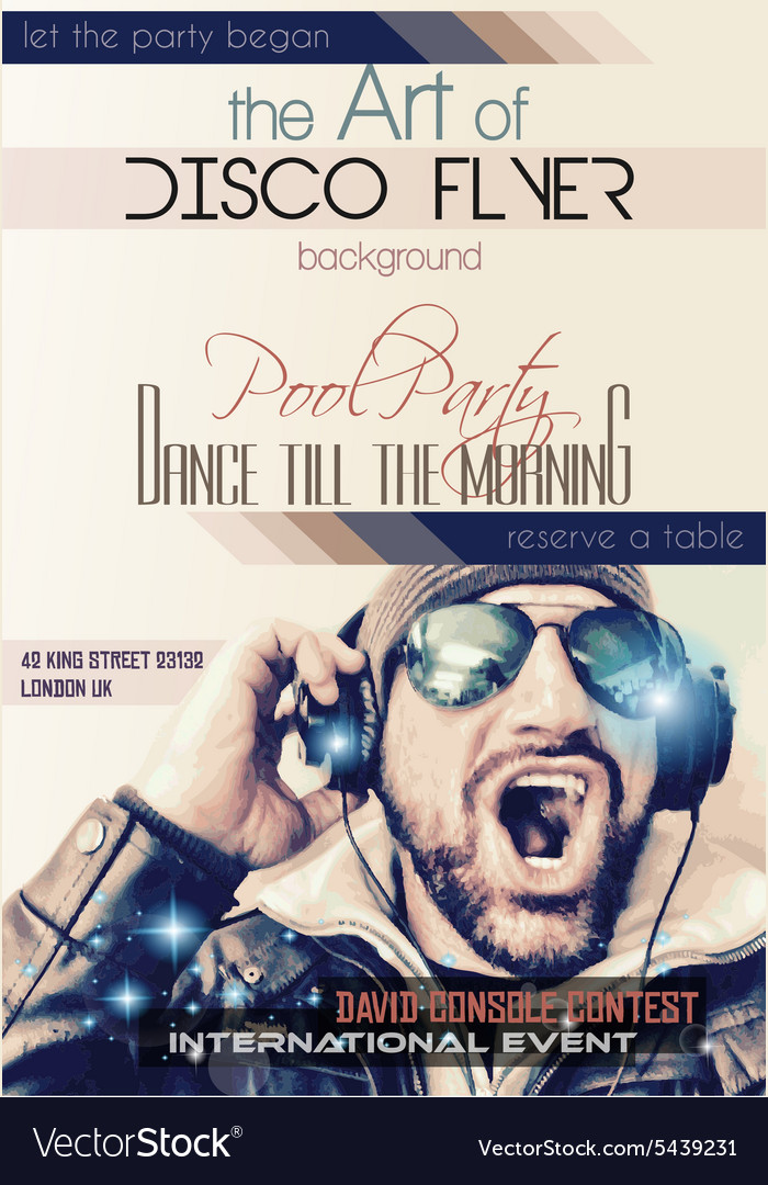 Disco Night Club Flyer layout with Disck Jockey Vector Image