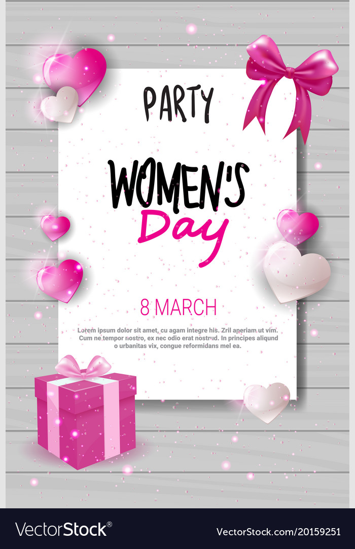 8 march day party invitation womens day Royalty Free Vector - 's day party invitation