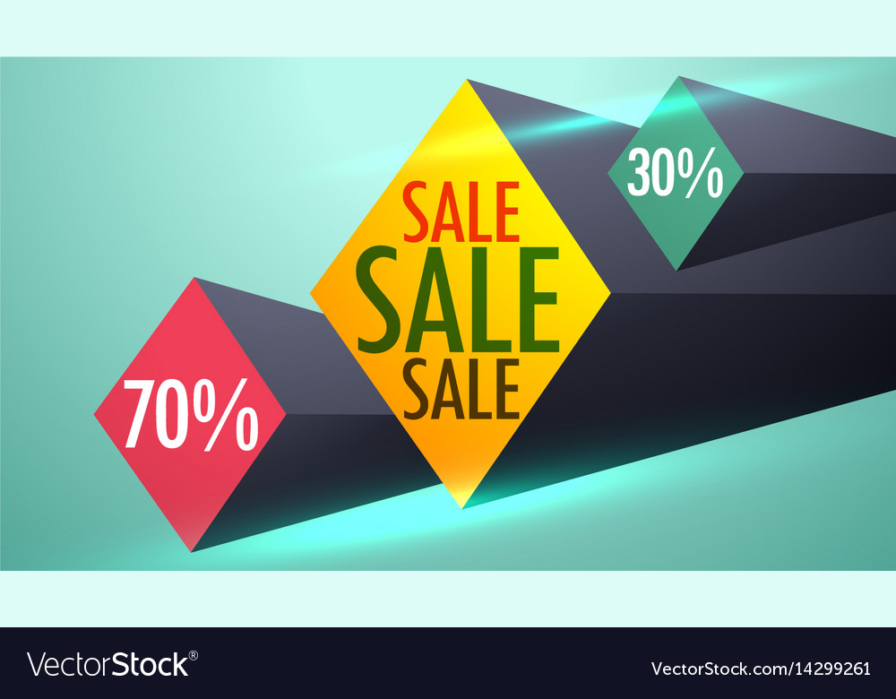 Sale and discount voucher design with 3d shapes Vector Image