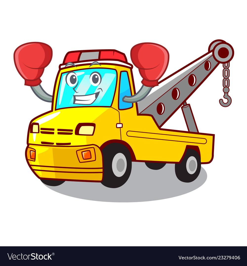 Tow Truck Boxing Cartoon Tow Truck Isolated On Rope
