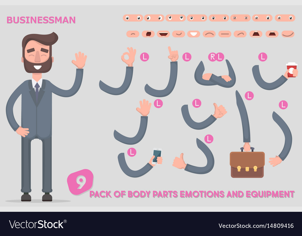 Parts body template for design work and animation Vector Image