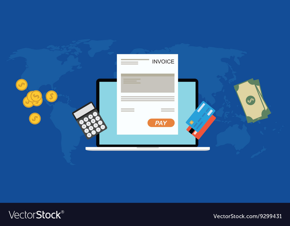 Online digital invoices Royalty Free Vector Image