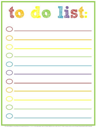 Free Printable To-Do Lists \u2013 Cute  Colorful Templates - What Mommy Does
