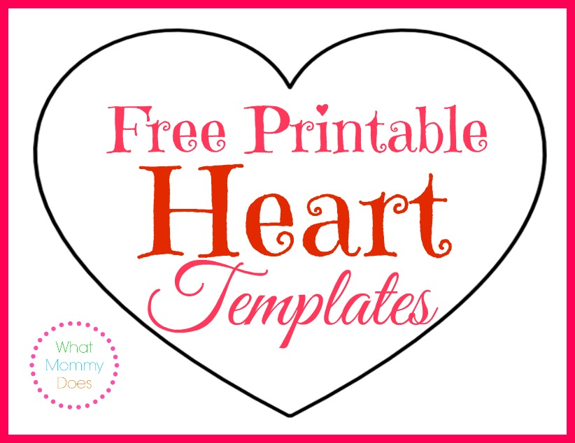 Free Printable Heart Templates \u2013 Large, Medium  Small Stencils to