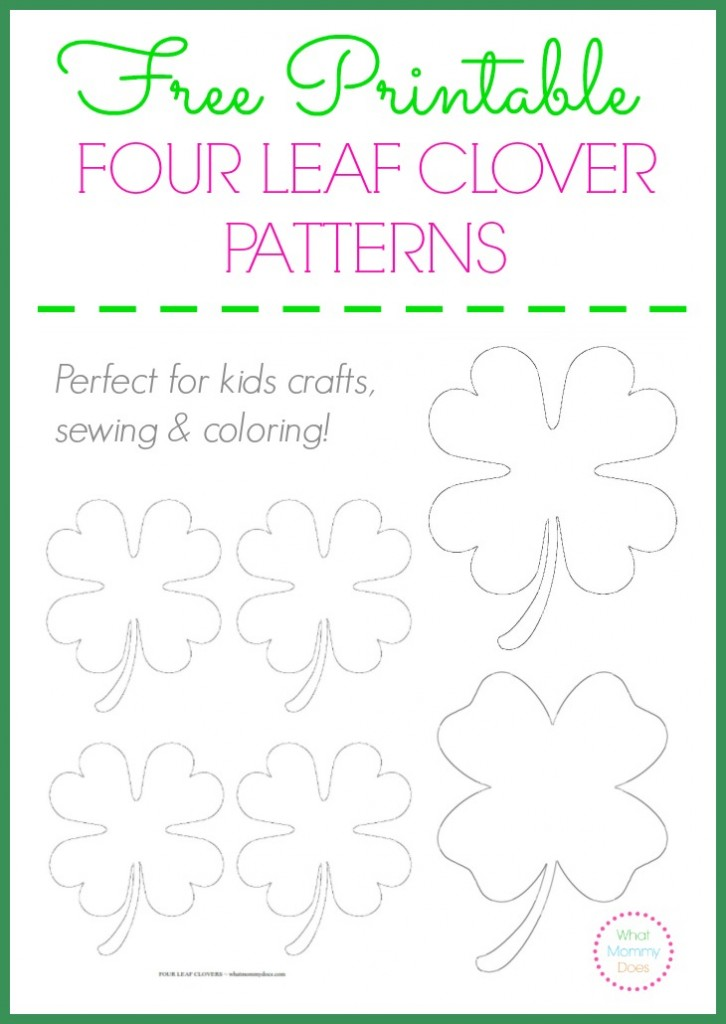 Free Printable Four Leaf Clover Templates \u2013 Large  Small Patterns