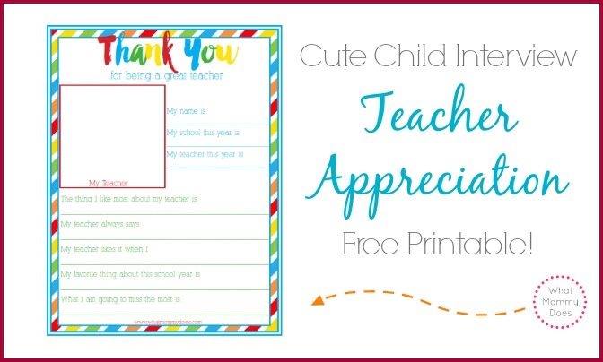 Thank You for Being a Great Teacher End of Year Gift - Student Survey - free printable questionnaire template