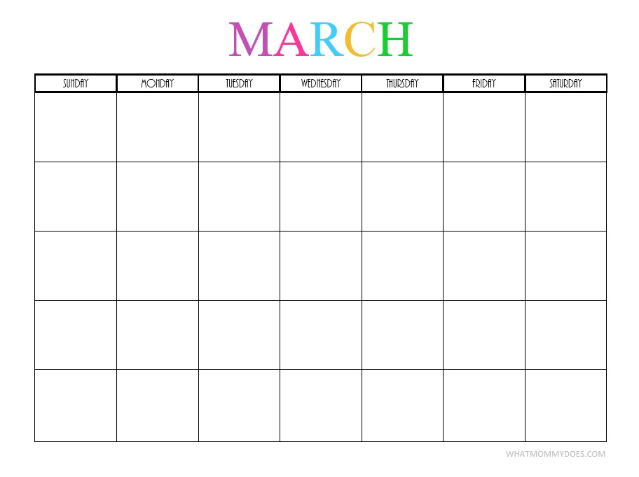 Free Printable Blank Monthly Calendars - 2017, 2018, 2019, 2020+ - printable blank calendar
