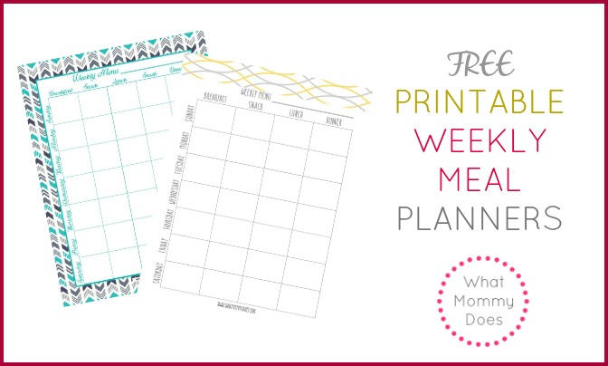 Free Printable Weekly Meal Planning Templates (and a week\u0027s worth of