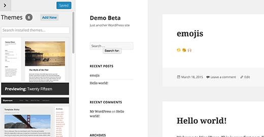 Theme switcher in WordPress 4.2