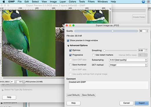 Exporting images in Gimp