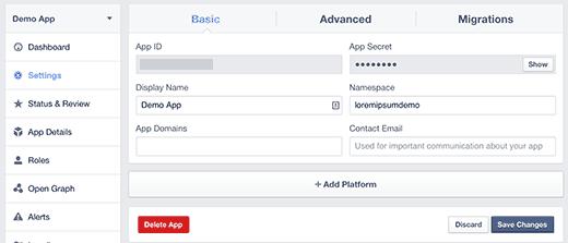Choose Facebook app platform