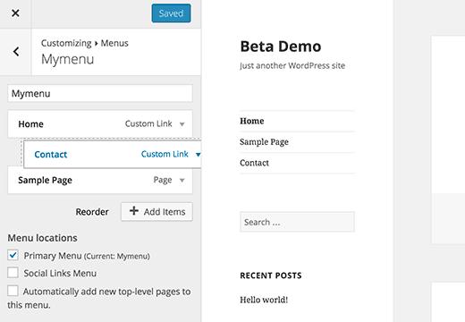WordPress 4.3 will have menus in customizer