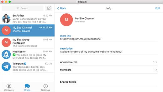 Channel options in Telegram