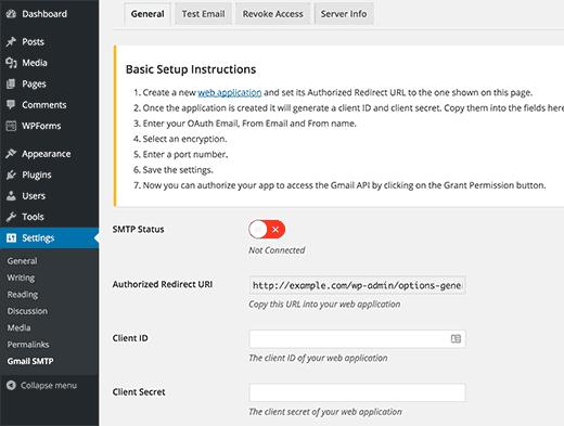 Gmail SMTP plugin settings page