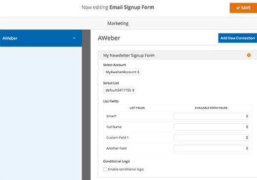 Connect form fields to email list fields