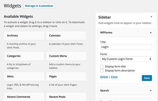 Add custom login form to a sidebar widget