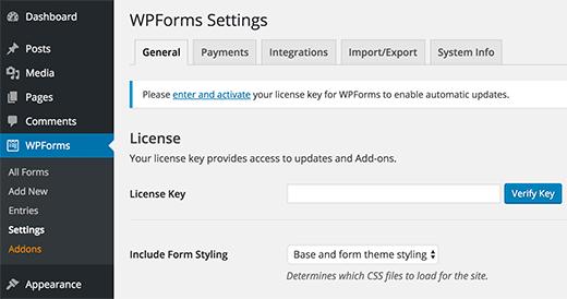 Adding WPForms license key