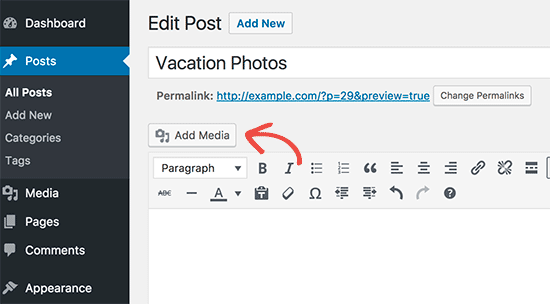 Click on add media button to upload your images