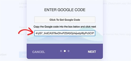 Enter your authentication code