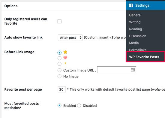 WP Favorite Posts settings