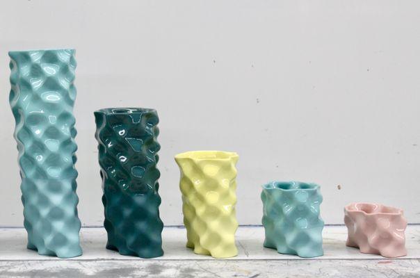 Cyan, Dark Green, Yellow  Pink Ø Wave Set by Mari JJ Design for