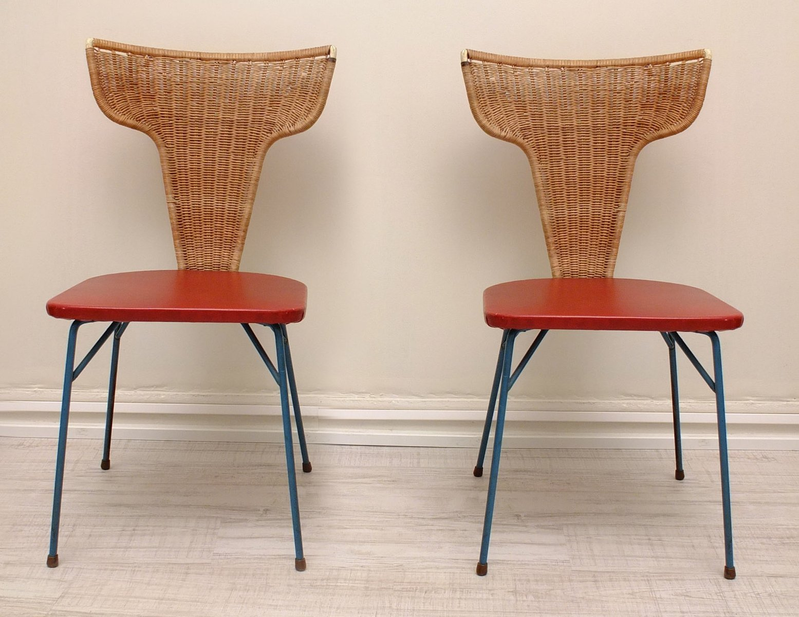 Rattan Chairs Italian Iron And Rattan Chairs 1950s Set Of 2