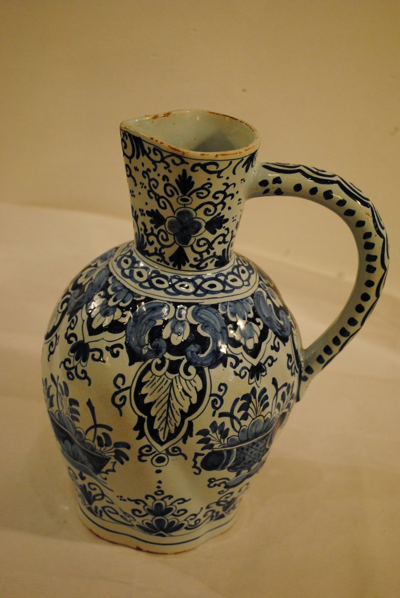 Faience Design Blue And White Faience Cider Pitcher From Rouen