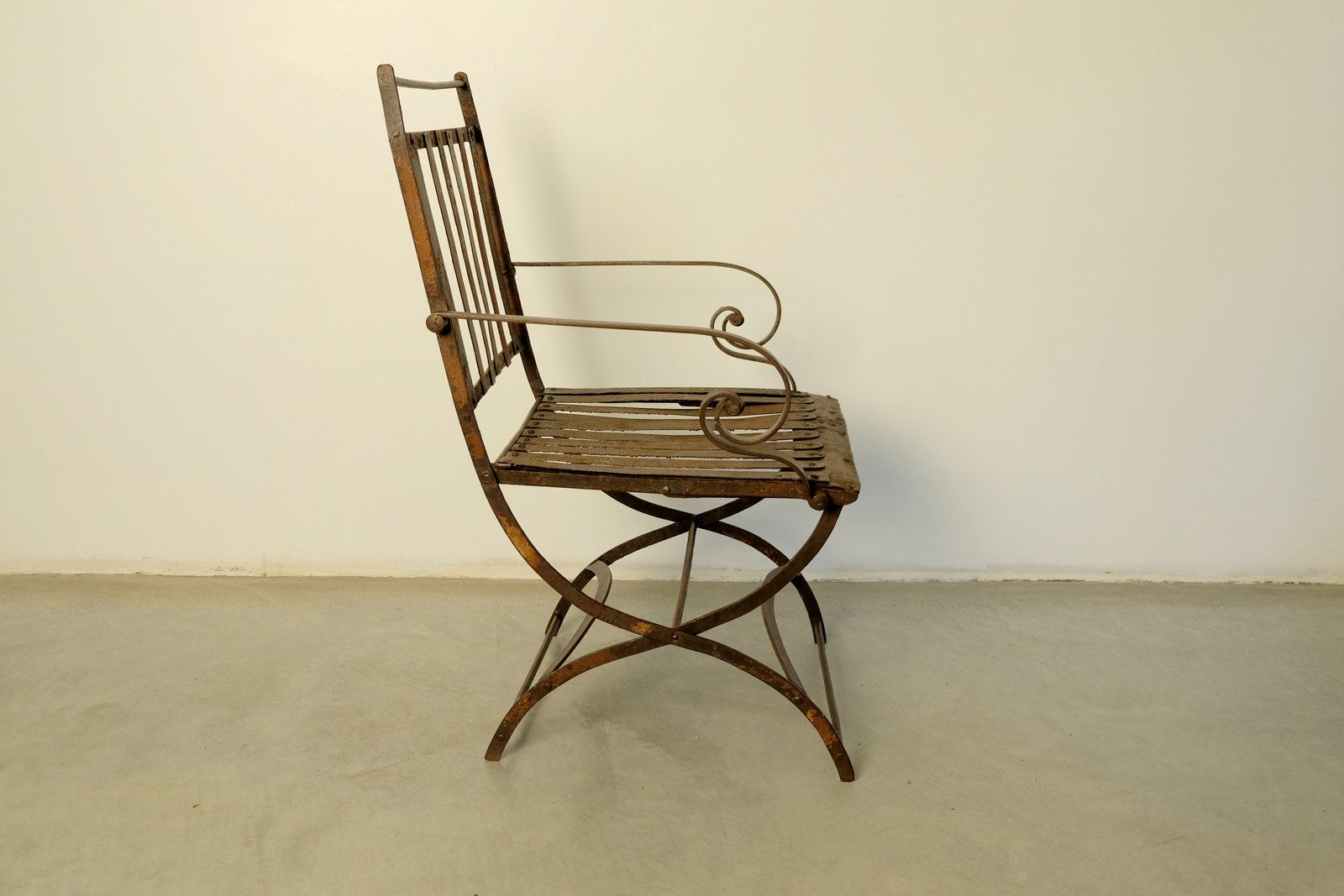 Vintage Riveted Folding Garden Chair For Sale At Pamono