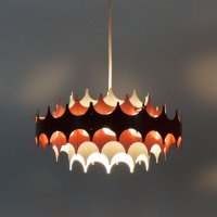 White & Red Metal Pendant Lamp from Doria, 1960s for sale ...
