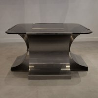 French Stainless Steel and Glass Coffee Table by Franois ...