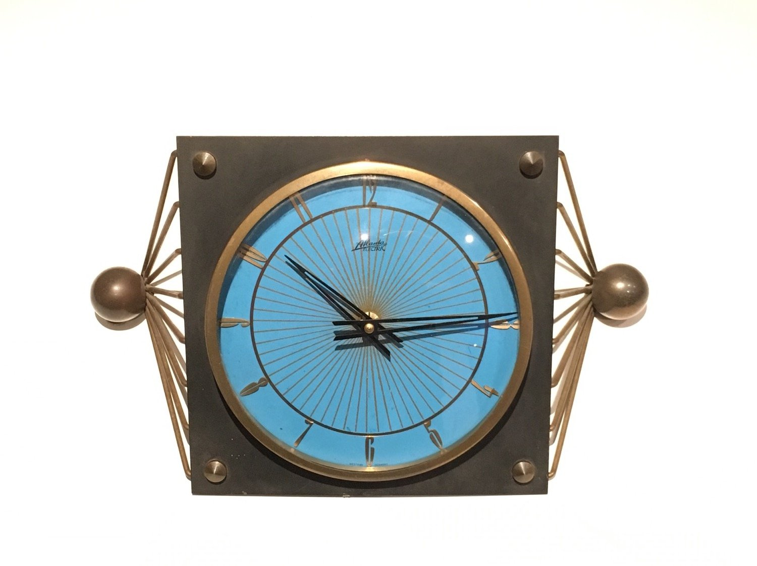 Metal Table Clock Black Lacquered Metal And Brass Table Clock For Sale At Pamono