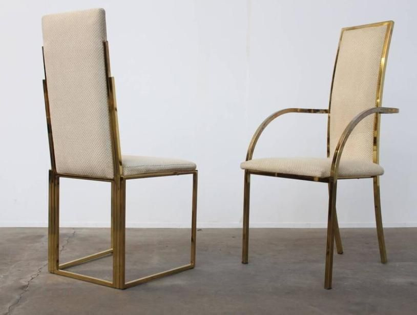 Brass Frame Dining Chairs By Romeo Rega 1970s Set Of 8