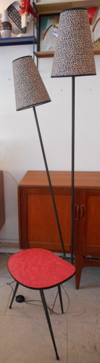Vintage Floor Lamp with Table for sale at Pamono
